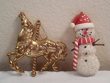 2 Piece Mixed Lot of Ornaments ~ Gold Color Merry-Go-Round Horse ~ Snowman
