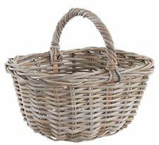 Grey & Buff Rattan Wicker Shopping Basket Storage Magazine Holder Kindling