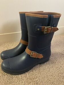 Womens Sperry Top Sider Walker Fo Rubber Rain Boots Leather Buckle 10 $100+ Blue