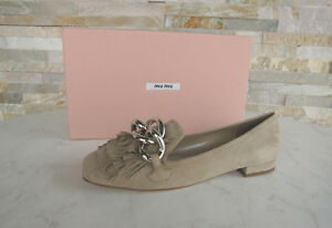 Miu 36 Halbschuhe Pumps Shoes 5S940A Fringes Chain Beige Previously New