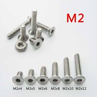 25/100 Stainless Steel Metric M2 Flat Countersunk Head Hex Socket Screw Cap Bolt