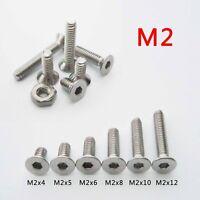 25/100 Stainless Steel Metric M2 Flat Countersunk Head Hex Socket Screw Cap Bolt