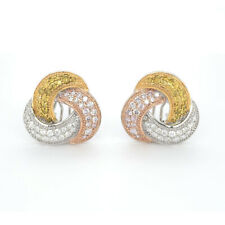 Real Fine 2.16ct Fancy Yellow & Pink Diamonds Earrings 18K Gold All Natural