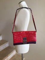 PAOLA DANGOND Red Purple Crocodile/Leather Chain Strap Evening Bag Handbag