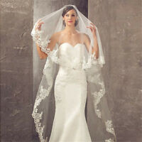 1T Red Wedding Bridal Veil Cathedral Without Comb Lace Edge Accessories New