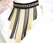 Boho Black and Gold Chain Drops Choker Necklace Lace Tassel Design Jewellery UK