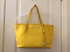 Michael Kors, Jet Set Medium Travel Tote, Yellow Saffiano Leather, Very Good
