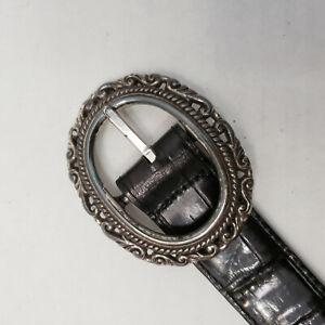 Brighton Reversible Black Brown Oval Silver Concho Buckle Belt L 36200
