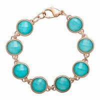 27 ct Quartz & Amazonite Bracelet in 18K Rose Gold-Plated Bronze