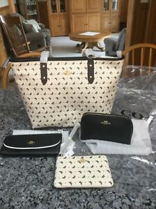 COACH Butterfly City Zip Tote With Matching Accessories. NWT.