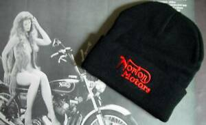 Norton Motors, Embroidered Motorcycle Toque, Hat. 100% Acrylic, New Sealed.