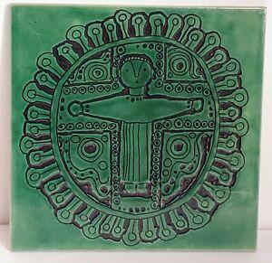 Vintage Jerusalem Pottery Ceramic Tile Art Dark Green 6×6 Decorative Figural Man
