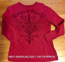 HARLEY DAVIDSON Size Medium M Burgundy Red Long Sleeve T-Shirt Lentner Legendary