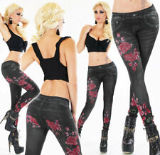 SeXy Thermo Leggings Hose Blumen Jeans Look Rose Leggins Jeggings 36 - 40