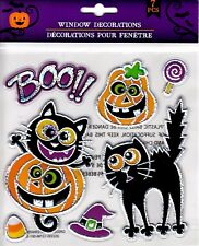 Halloween Window Cling Stickers 7 Count ~ Cats & Pumpkins BOO!
