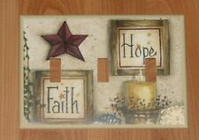 PRIMITIVE COUNTRY FAITH HOPE TRIPLE SWITCH PLATE COVER