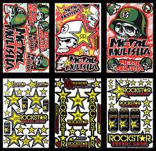 6 Motocross Vinyl Decals Metal Mulisha Rockstar Stickers Bike MTB MOTO-GP Logo