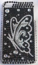 Rhinestone iPhone 4 Hard Case Cover Butterfly Silver