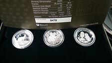 Australia 2013 HIGH RELIEF 3 Coin Set $1 Silver 1 Oz Koala Kangaroo Kookaburra