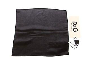 DOLCE & GABBANA D&G Black Silk Handkerchief Pochette Square Pocket RRP $130