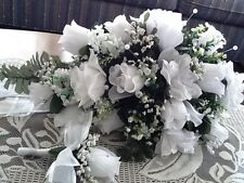 LARGE WEDDING BOUQUET WHITE WITH BOUT OR ANY COLOR