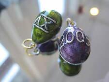 Joan Rivers Enamel Annual Egg Pendant - 2005 XV Purple Green Silver  21x13 TIME!