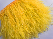 F128 PER 30cm-Gold Yellow Ostrich feather fringe Trim Brooch/Fascinator Material