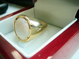 3.35Ct Oval Cut Fire Opal 14K Yellow Gold Finish Engagement Solitaire Men's Ring