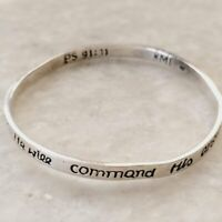 KMI 925 Sterling Silver Psalm 91:11 Bible Verse Angel Guardian Bangle Bracelet