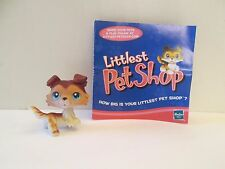 Littlest Pet Shop LPS COLLIE #58 Tan White Brown Dog Blue Eyes Raised Paw