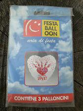 NUOVO Festaballoon 3 palloncini a forma di cuore All my love