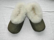 From Peru Olive Green Suede White Alpaca Fur Slippers Size W 9, M 7.5, Euro 40