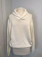Talbots Men Cream Cowl Neck Sweater Size M 100% Cotton