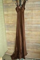 Zum Zum by Niki Livas - BROWN ruched satin FORMAL sheath dress SEQUINED, size 1