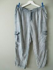 NWT MISS ME pants distressed Chambray Cargo blue fringed pockets size Large NEW