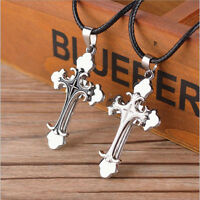 Unisex's Men White Black Silver Stainless Steel Cross Pendant Necklace Chain