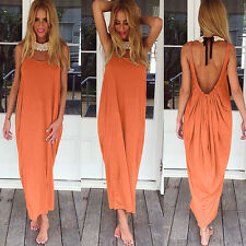 Women Boho Long Maxi Dress Loose Plus Size Beach Holiday Casual Summer Sundress