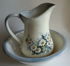 Floral Pitcher and Wash Basin Bowl Cream and Blue Set Daisies Flowers Vintage