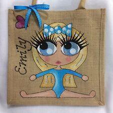 Personalised Handpainted Gymnast Jute Little Girl Handbag Hand Bag Gift