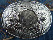 NUOVA Argento realizzato a mano in Metallo Fibbia della Cintura STATI UNITI MEZZO DOLLARO AMERICANO Cowboy Western