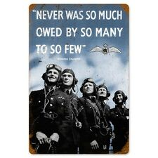 WWII Churchill So Many So Few Quotation Tin Metal Steel Sign Reproduction 12x18