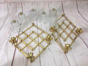VTG Brass Glass Accordion Scissor Candle Holder Wall Mount Sconce USA Made RARE