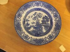 "English Ironstone Ltd Blue White Willow Pattern Dinner Plate 9.5"" 24cm #7"