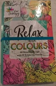 Adult Colour therapy Travel colouring set  2 books and 12 pencils 60 pages