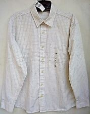 OLD NAVY SHIRT L Large White Plaid 100% Cotton Dress Long Sleeve Regular Fit NWT