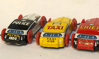 Vintage Tin Toy Car Lot Litho Police Fire Taxi Stunt Racer Ambulance Colorful