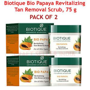 2 X 75 gm Biotique Bio Papaya Revitalizing Tan-Removal scrub Younger-looking F/S