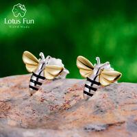 Solid 925 Sterling Silver Jewelry Handmade Honey Bee Stud Earrings for Ladies