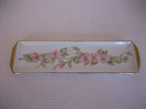 Vintage Handpainted Pink Floral Porcelain Tray w/Gold Trim 12 1/2in.L. Pre-Owned