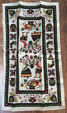 Vintage Pennsylvania Dutch Print Linen Kitchen Tea Towel Wall Hanging